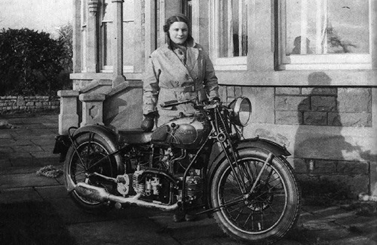Vintage woman rider, B&W motorcycle