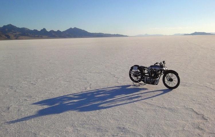 Motorcycle on the salt flats