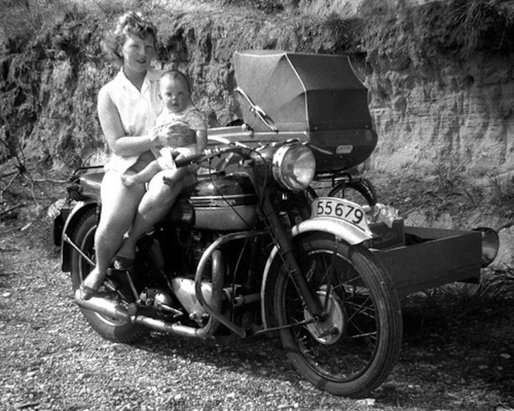 pram, baby and motorcycle, pram sidecar, vintage motorcycle