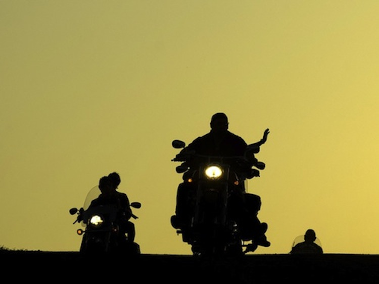 sunset motorcycle ride