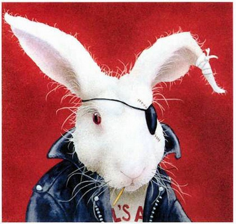 Easter Biker, Biker bunny painting, biker bunny, eye patch