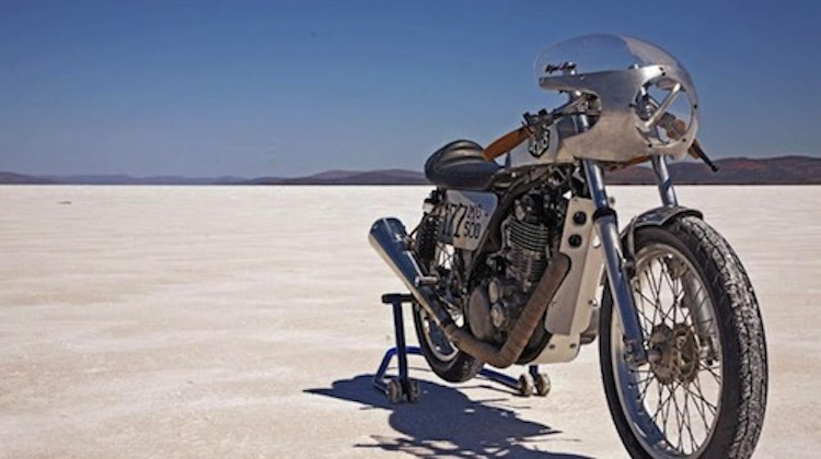 single cylinder racer, motorcycle salt flats racer