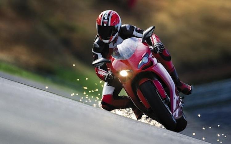 Superbike racer, sparks motorcycle