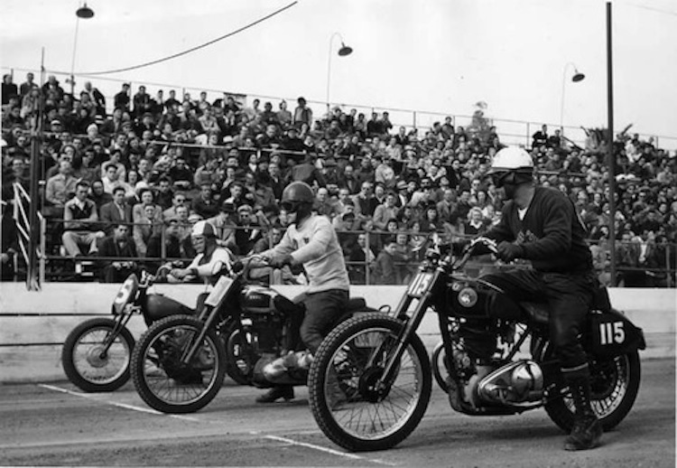 Black and White Motorcycle Racing Photo