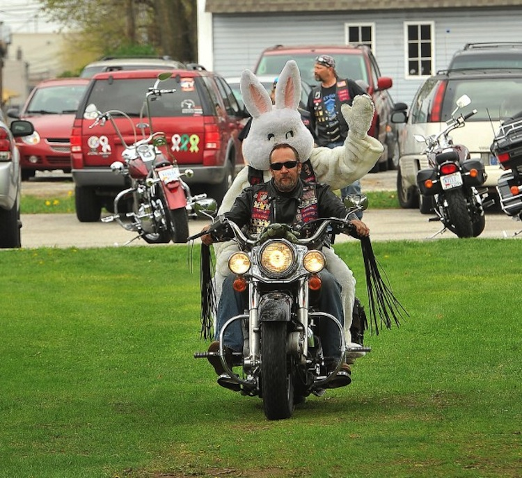 easter bunny biker, motorcycle easter bunny, easter bunny on a bike, bunny on  bike