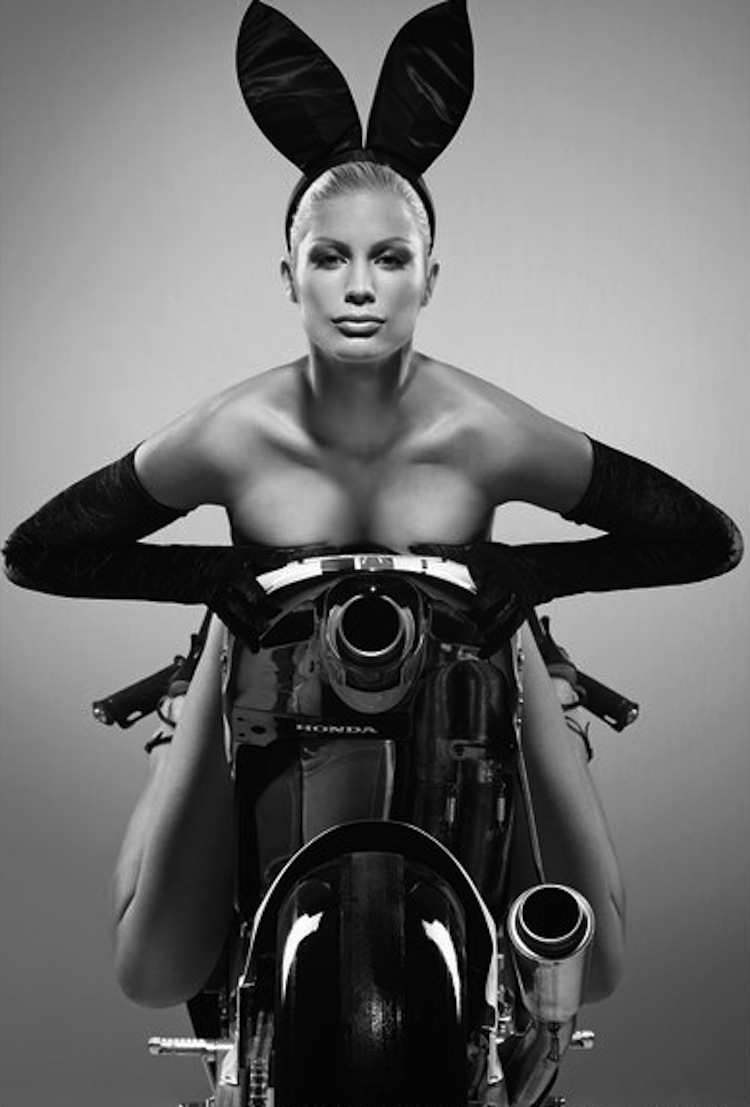 Bunny Model on a motorcycle, model on a motorcycle, easter model on a motorcycle