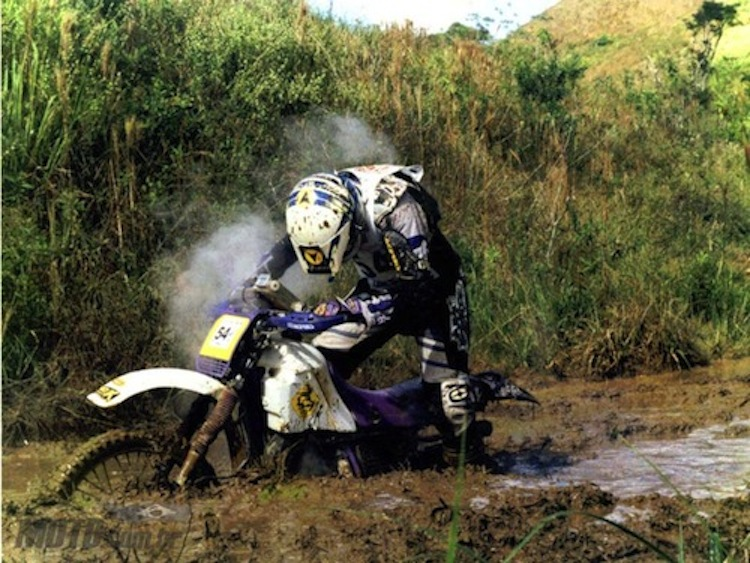 Motocross bike stuck in mud, mud stuck, motorcycle stuck