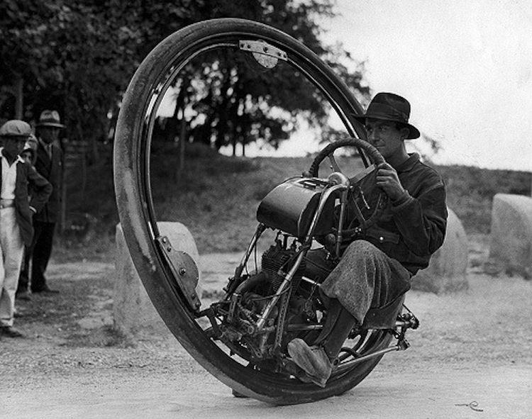 One wheeled motorcycle, weird motorcycle