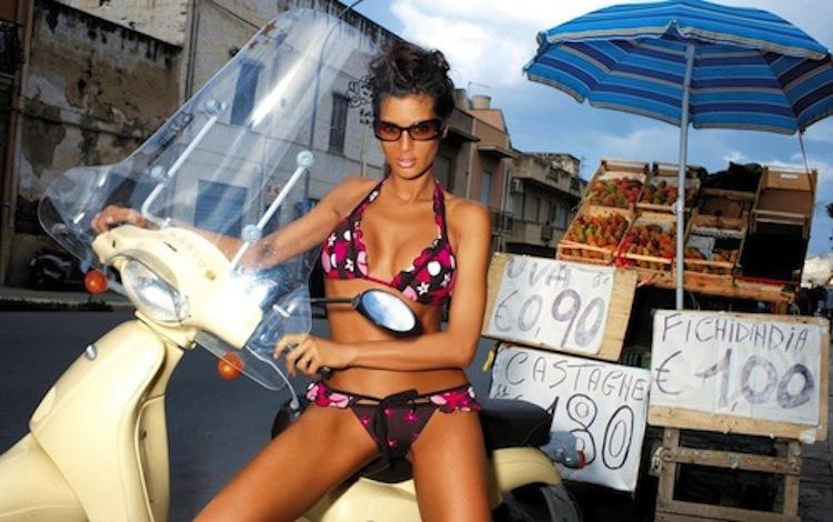 Bikini model, scooter bikini model, model on a scooter