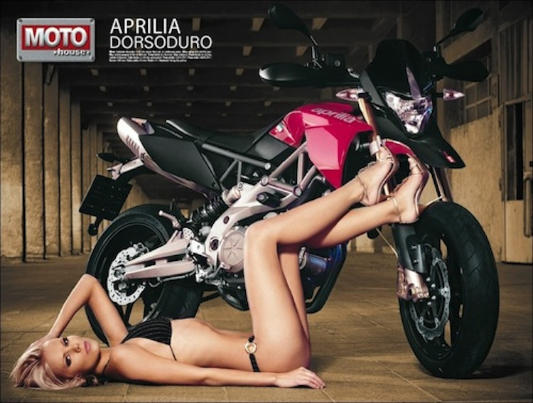 Aprilia and bikini model, Aprilia and model