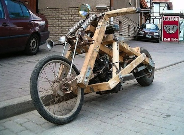 Wooden motorcycle, weird motorcycle