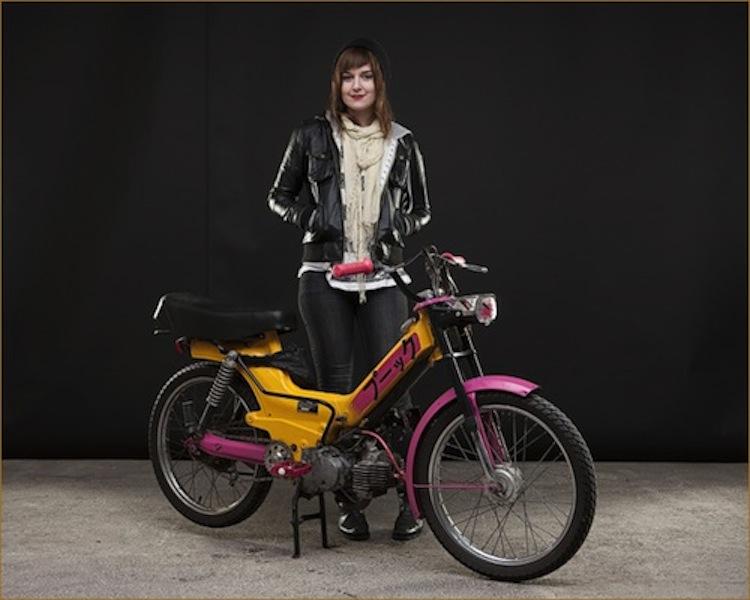Studio moped girl, moped girl, moped woman