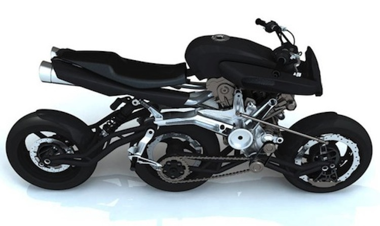 three inline wheels motorcycles