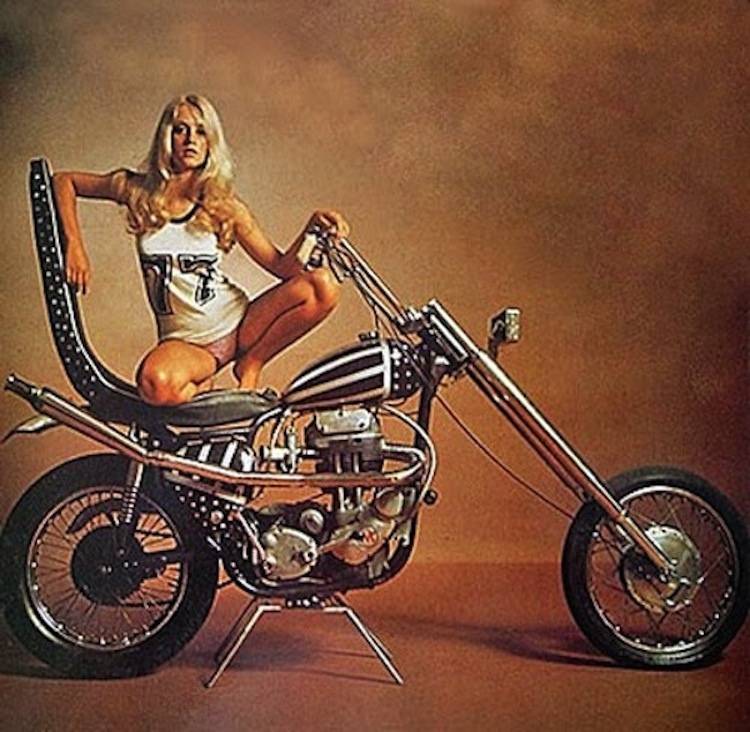 single cylinder chopper, bikini chopper girl, chopper woman