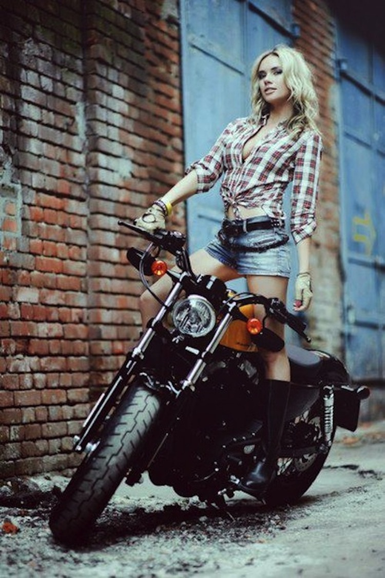 Blonde Model on a Harley, Model on a Harley