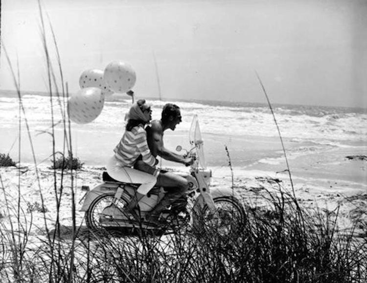 Balloon motorcycle, couple riding