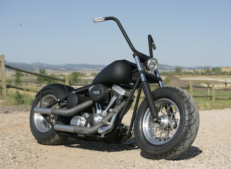 Exile Motorcycles, Russell Mitchell, Flat Black, Custom motorcycle, Twin Cam harley, Steve Kelly Photography, big tire bobber