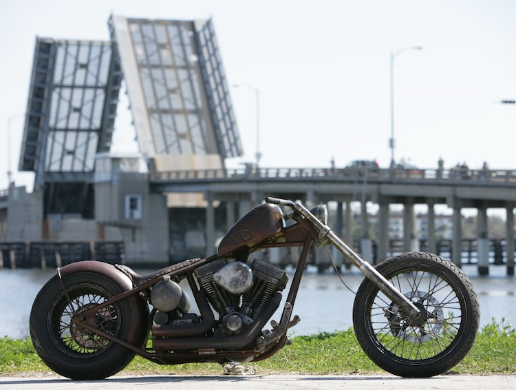 Exile Motorcycles, Russell Mitchell, Flat Black, Custom motorcycle, Twin Cam harley, Steve Kelly Photography, rusty exile chopper