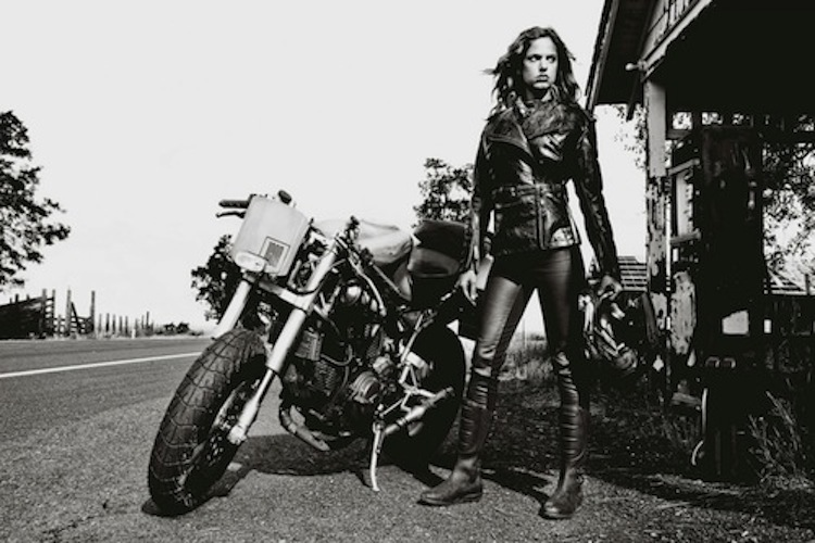 Leather, woman, motorcycle