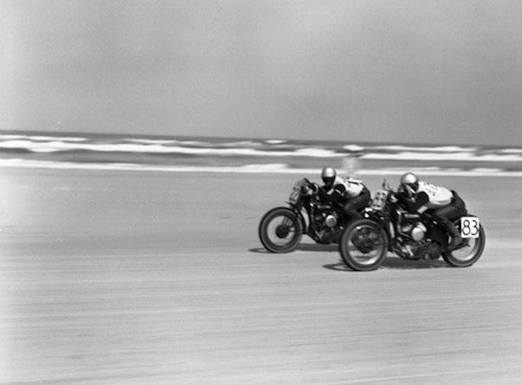 Vintage Motorcycle racing on the beach, Harley beach racing, vintage had;ey