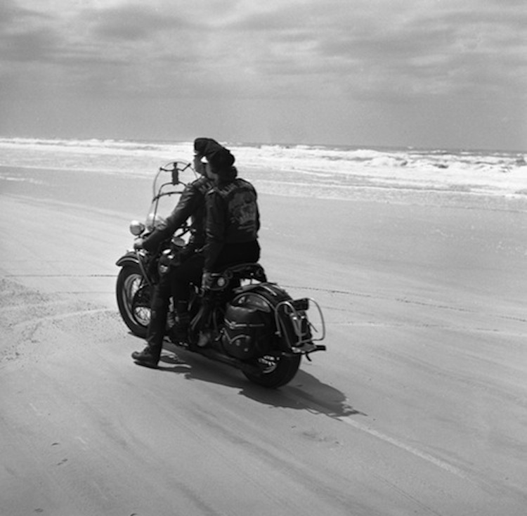 Vintage Motorcycle Couple, Beach riders, Harley on the Beach