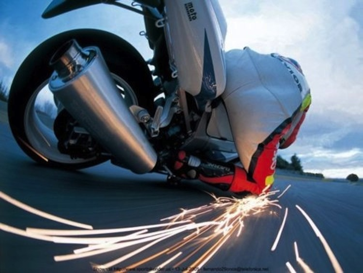 Sparks on a motorcycle, turns, motorcycle photo blog