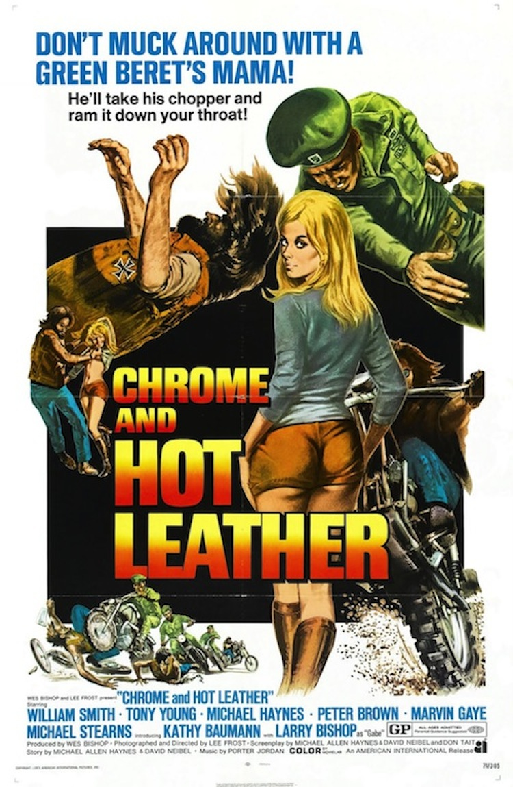 chrome and hot leather, vintage movie poster, vintage motorcycle movie poster